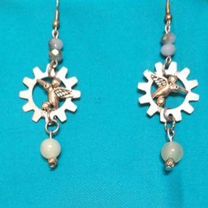 Jewelry - Silver Hummingbird Steampunk Earrings